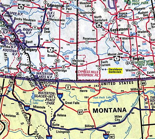 map to davidson gelbvieh located just north of the montana saskatchewan border